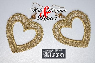 Orecchini Cuori in filigrana di pizzo by Arte Ricamo & Bijoux