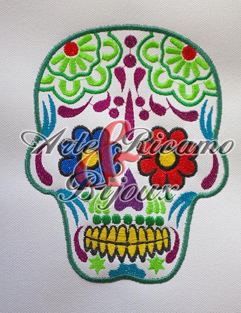 tela ricamata Mexican Skull by Arte Ricamo & bijoux