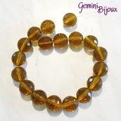 Lotto 2 perle in vetro sfaccettate Topaz 20mm