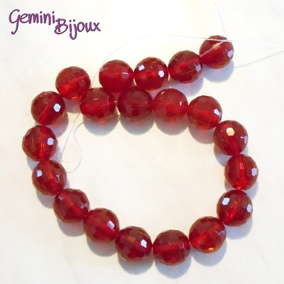 Lotto 2 perle in vetro sfaccettate Rosse 18 mm