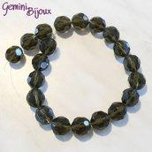 Lotto 2 perle in vetro sfaccettate Dark Grey 18 mm