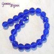 Lotto 2 perle in vetro sfaccettate Blu 16 mm