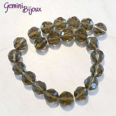 Lotto 2 perle in vetro sfaccettate Light Grey 16 mm