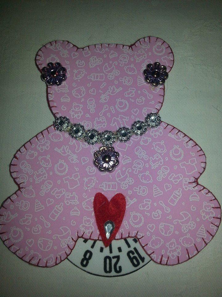 Disco orario in moosgummy gomma crepla orsetto rosa