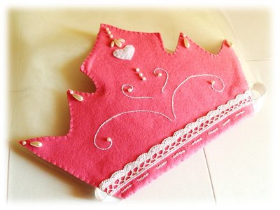 Corona Principessa- Fatina con velo Carnevale pannolenci rosa