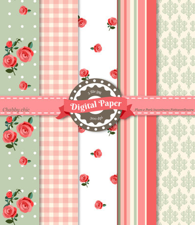 Digital Paper Shabby Chic - Scrapbooking