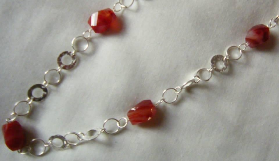 spesso collana lunga con catena in argento indiano e pietre dure  RH81