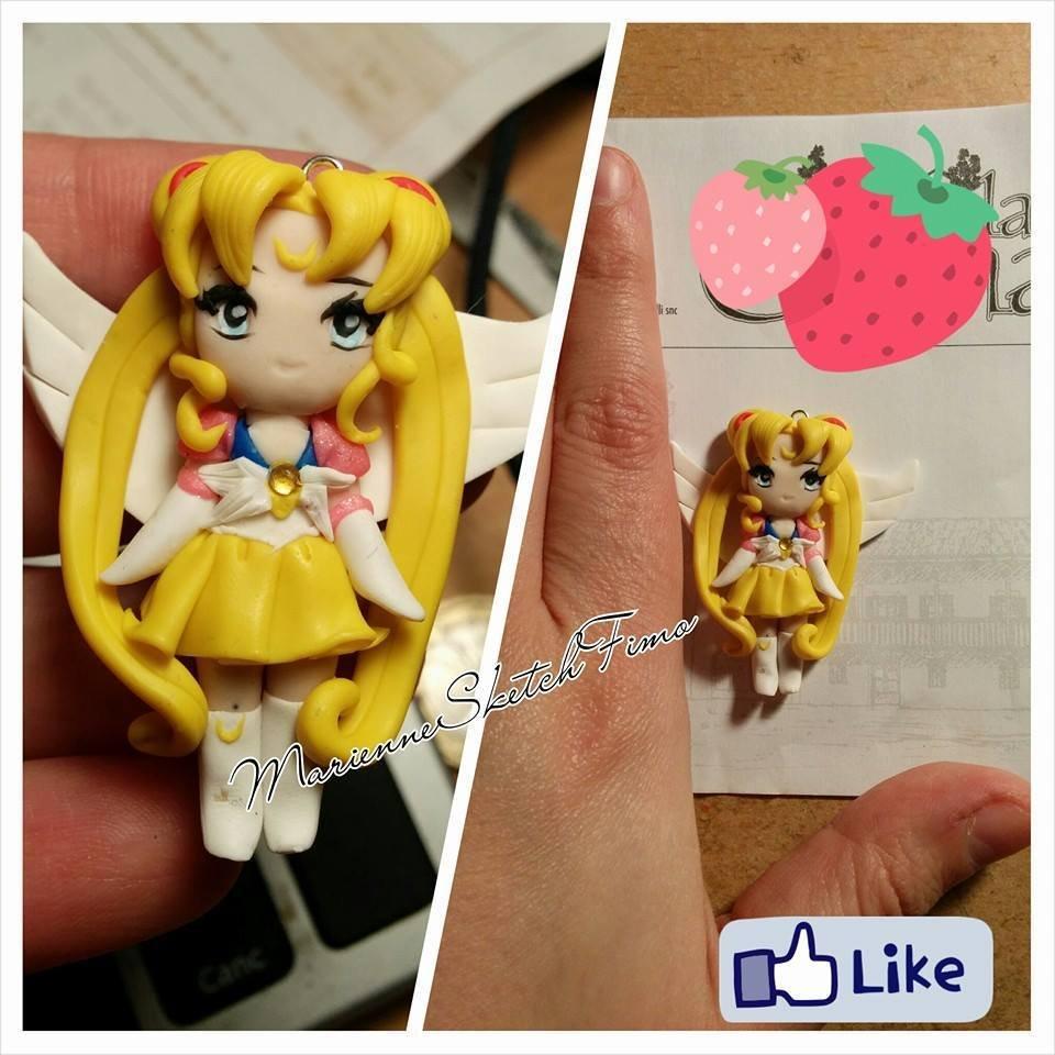 Ciondolo Sailor Moon Fimo Versione Chibi realizzato a mano