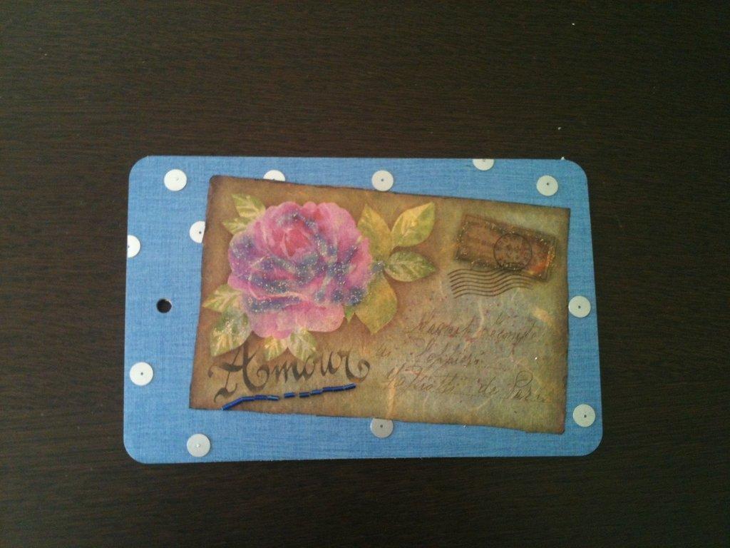 Decoupage quadretto cartolina rosa
