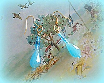 orecchini pendenti con pietra celeste