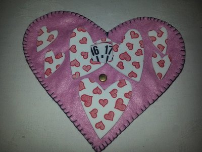 Disco orario in pannolenci e moosgummy cuore rosa