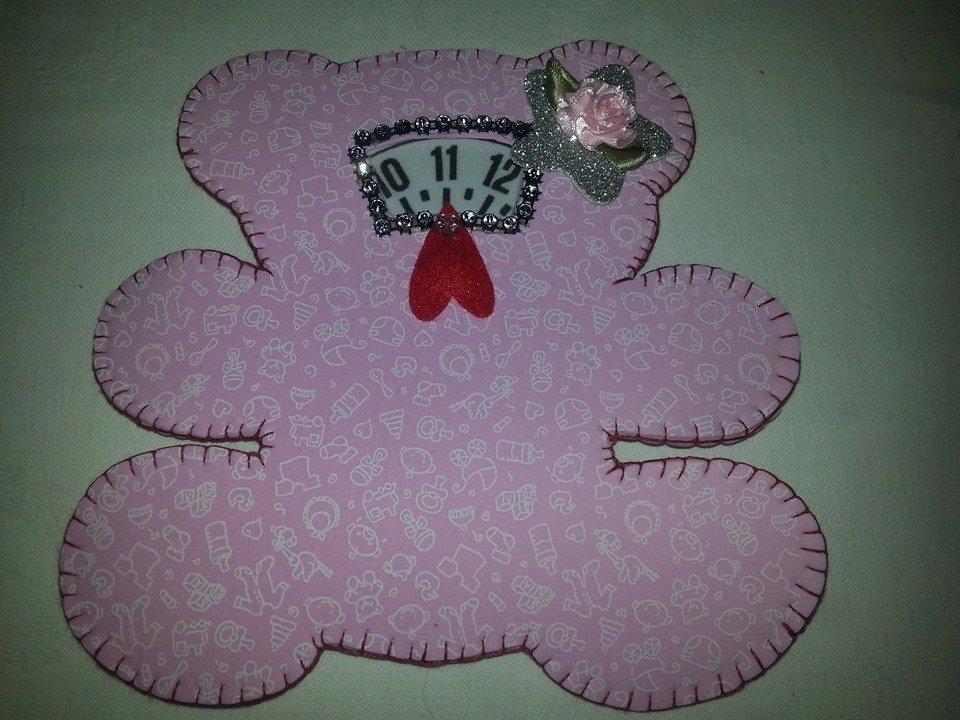 Disco orario in moosgummy gomma crepla orso grande rosa