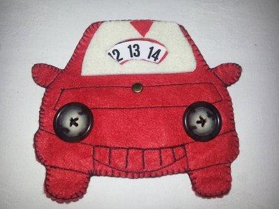 Disco orario in pannolenci e feltro macchinina macchina auto rossa