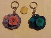 Portachiavi portamoneta o gettone x carrello della spesa fiore rosa flower