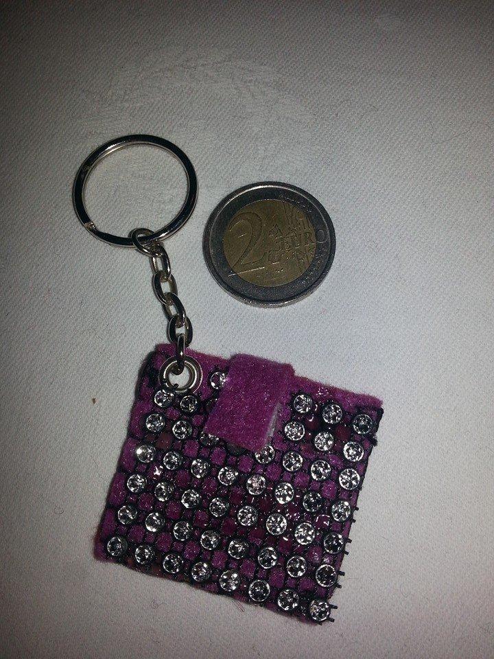 Portachiavi portamoneta o gettone x carrello della spesa strass