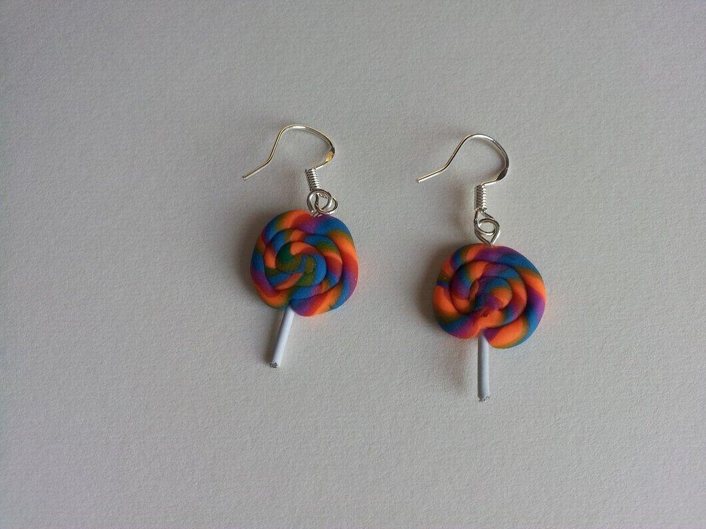 Orecchini in fimo lollipop (leccalecca)