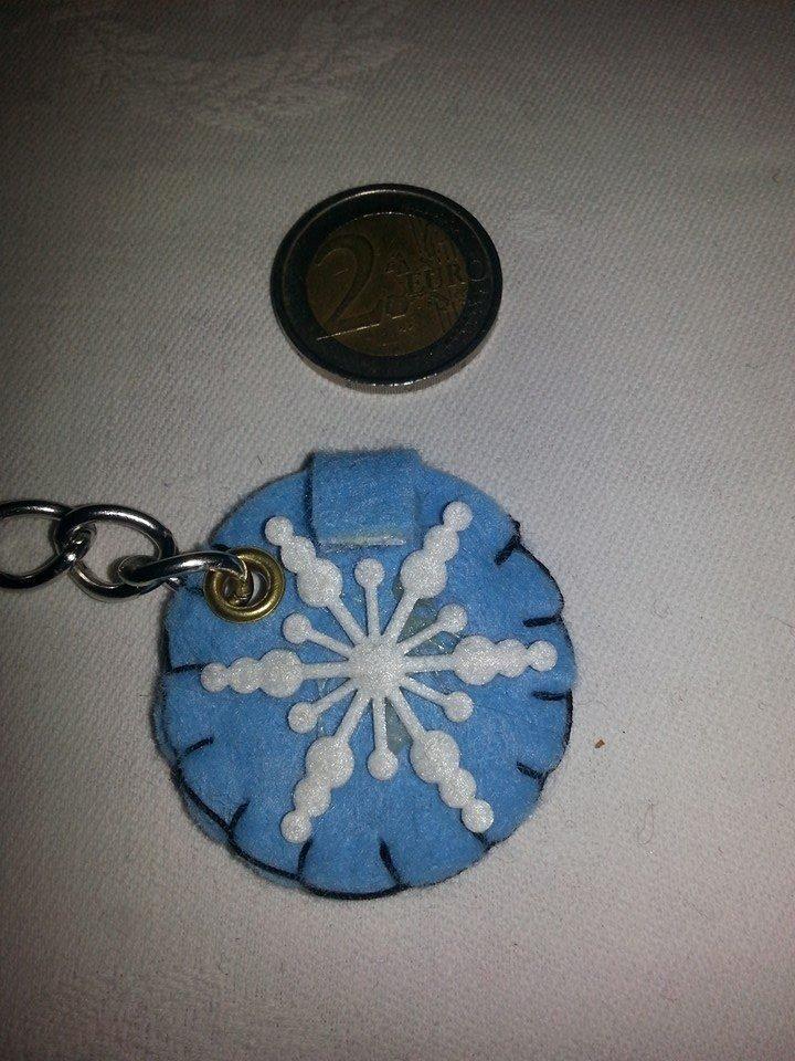 Portachiavi portamoneta o gettone x carrello della spesa fiocco di neve