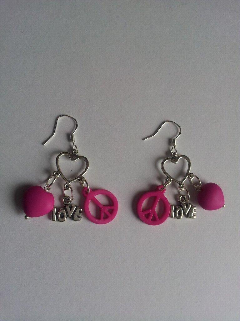 Orecchini pendenti Peace & Love rosa