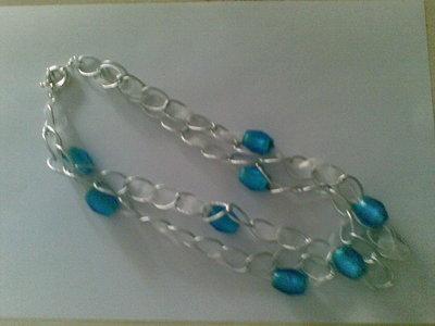 Collana alluminio e perle