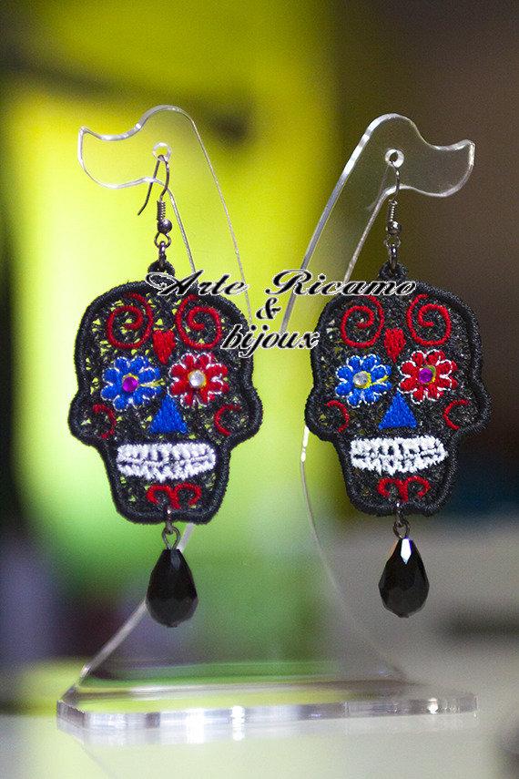 Orecchini sugar mexican skull  con pendenti by Arte Ricamo & Bijoux