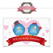 San Valentino Card - Blue Birds