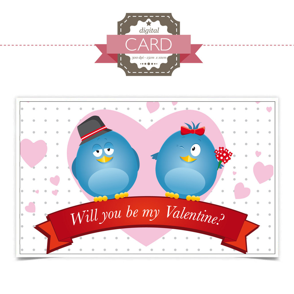 San Valentino Card - Blue Birds