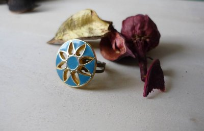 Anello con bottone vintage smaltato FLOWERS
