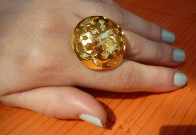 Anello con bottone vintage color oro FILIGRANE