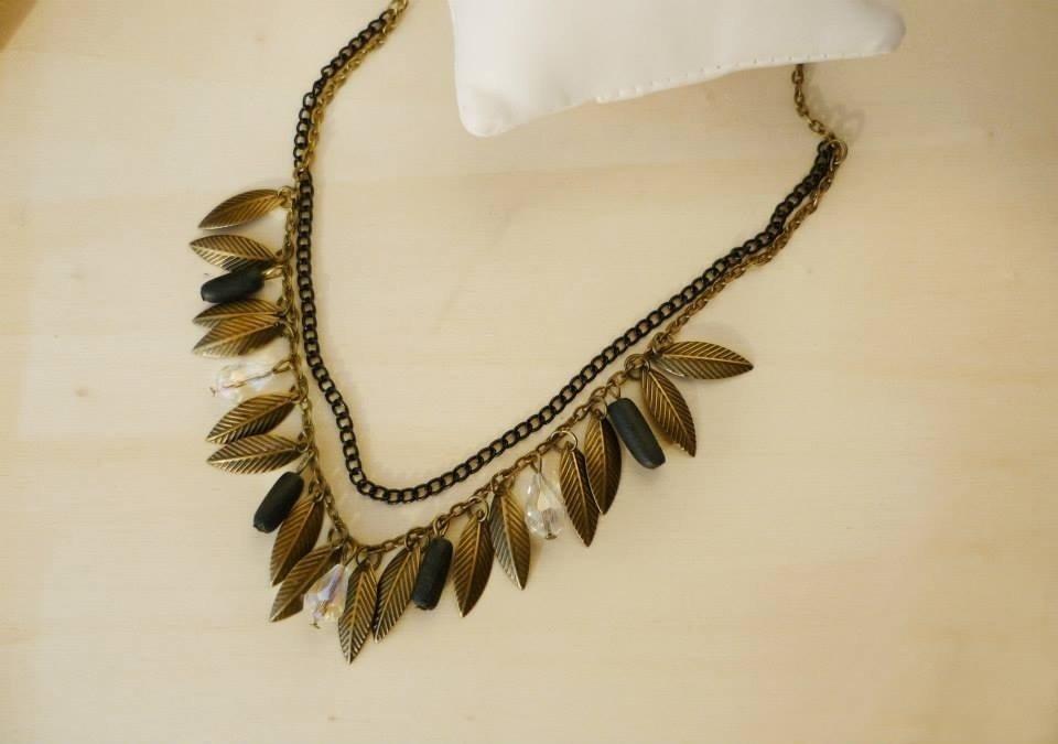 """collana in bronzo anticato con foglie e cristalli """"Autumn whispers"""""""