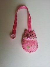 Segnalibro di panno gatto rosa