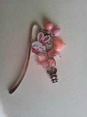 Segnalibro charms coniglietti rosa