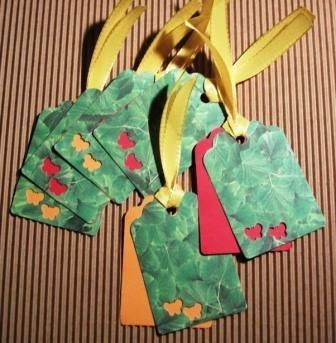 DoubleTags serie Natura^^ - Etichette chiudipacco Doppie - *Farfalline & Foglie*