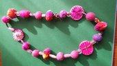Collana di Feltro e Vetro Rosa e Viola