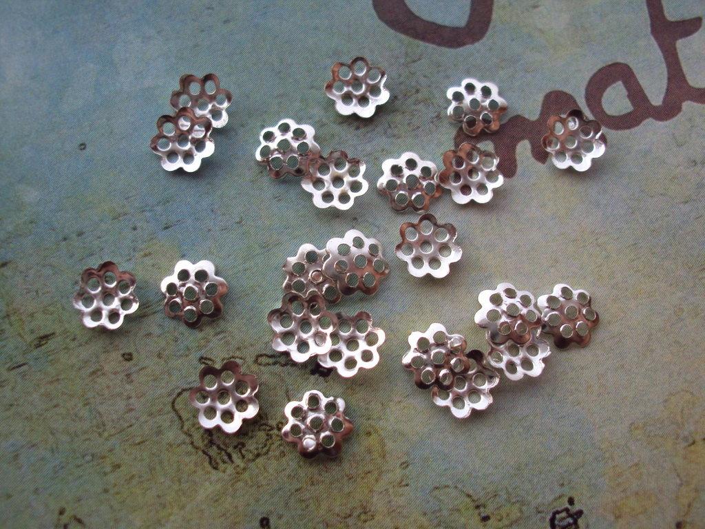 100 Coppette copriperla argento