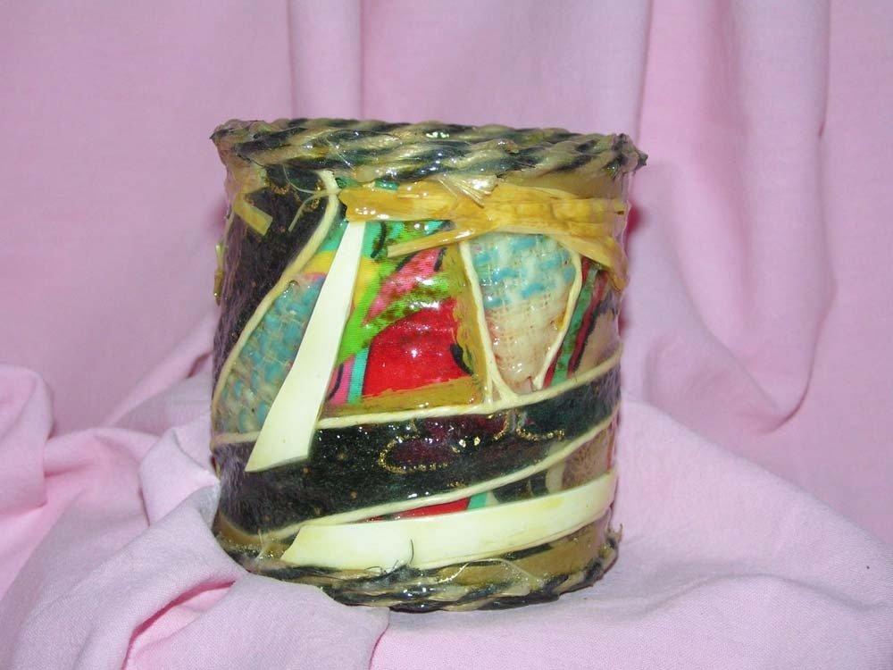 lattina porta penne ricoperta con tessuto e corda