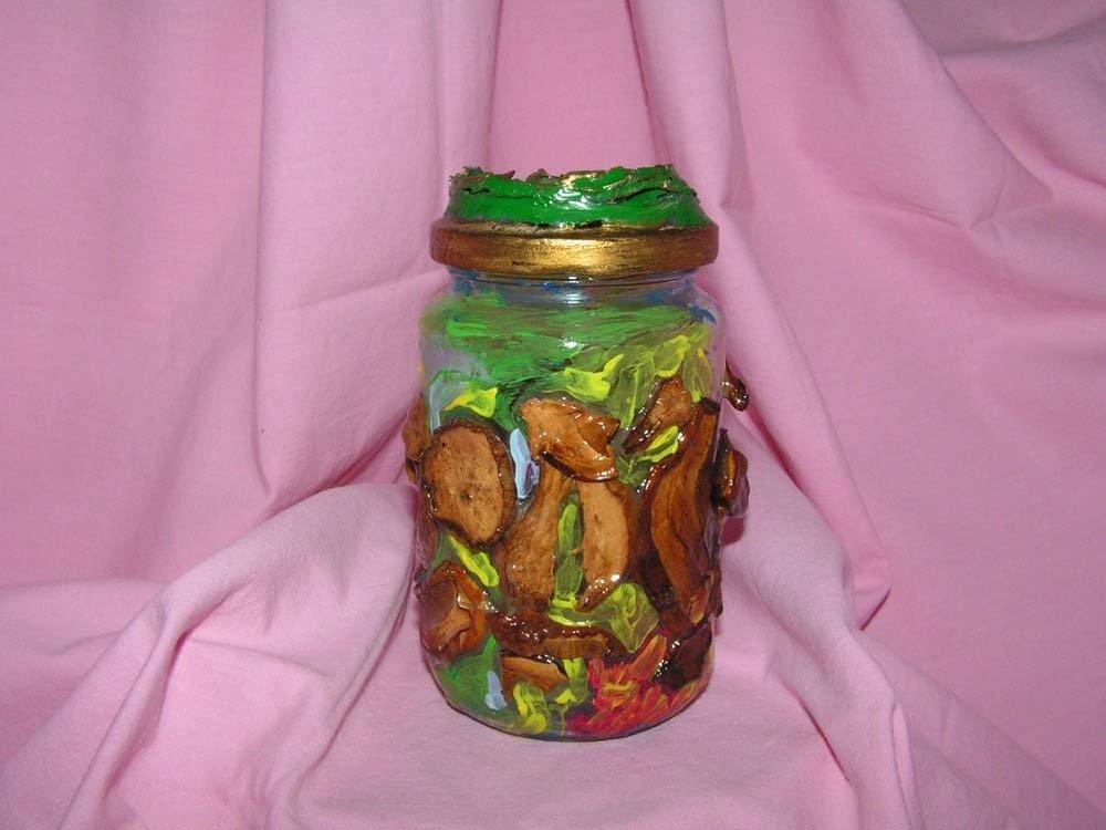 barattolo vetro decorato con funghi porcini