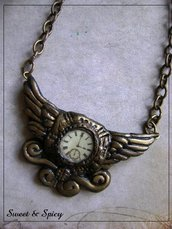 TIME FLIES STEAMPUNK PENDANT-PENDENTE STEAMPUNK VITTORIANO