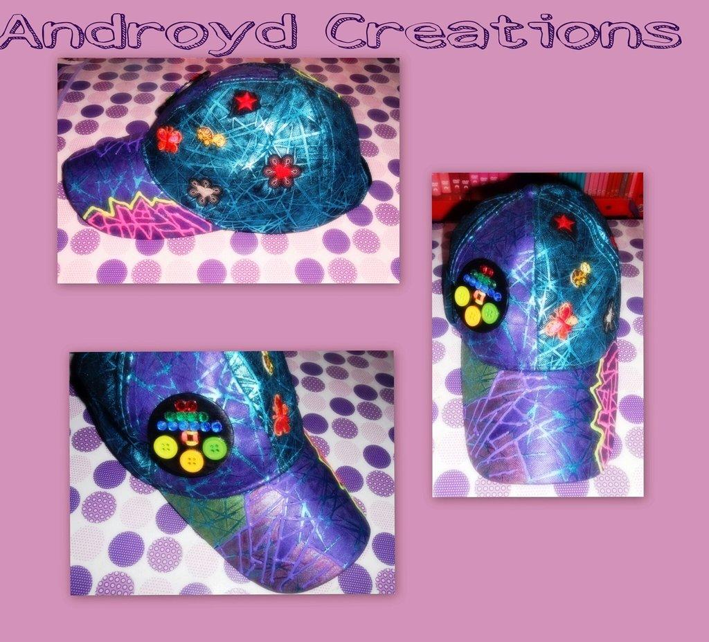 cappello fatto a mano con applicazioni