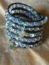 Bracciale in cuoio  e perle