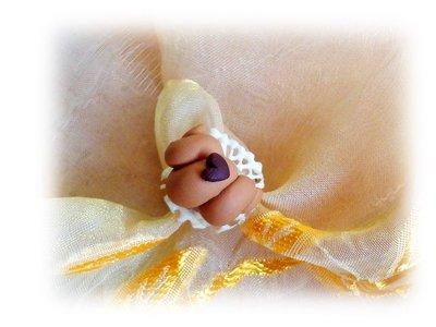 Anello croissant brioche cornetto con cuoricino fimo