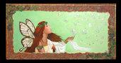 Dipinto ad acrilico (80x40)su tela spessa 4 cm raffigurante una fata e delle bolle a rilievo con cornice realizzata direttamente sulla tela