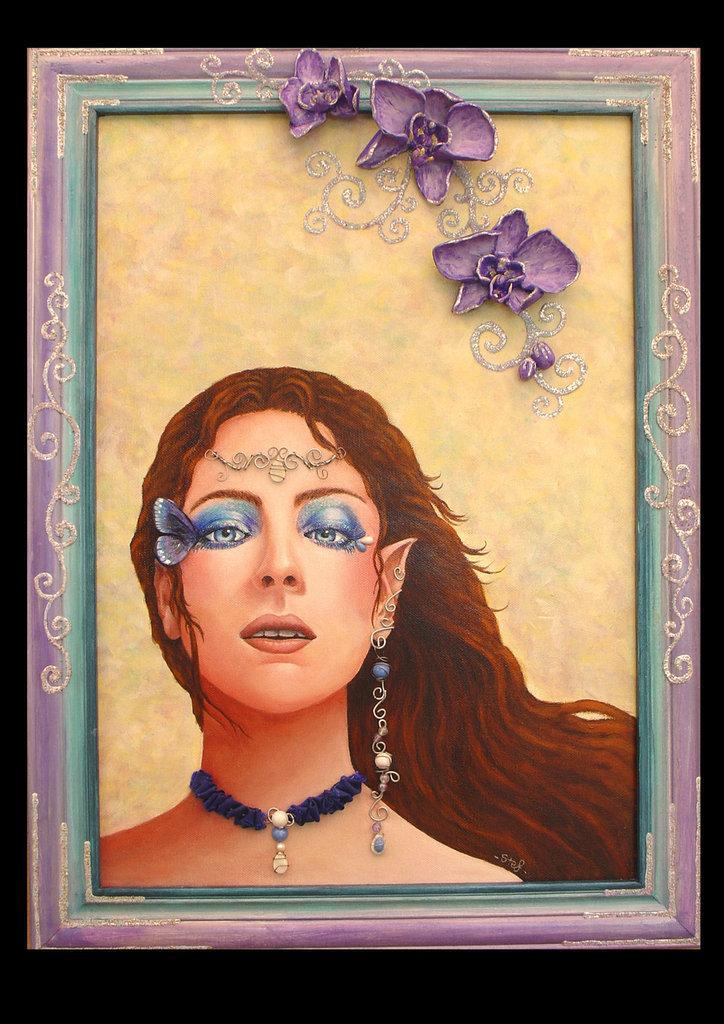 Dipinto ad acrilico43x57comprensivo di cornice in legno dipinta e particolari modellati ed applicati(orchidee,ali di farfalla e gioielli)