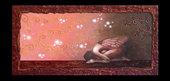 Dipinto ad acrilico80x40su tela spessa 4 cm raffigurante una fata decorato con motivi ad arabesco