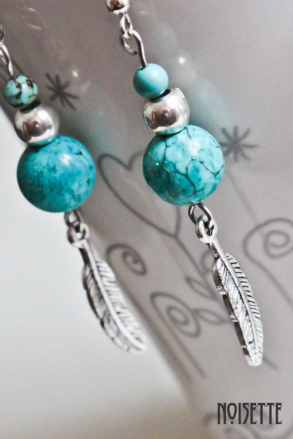 Pendientes estilo indio turquesa