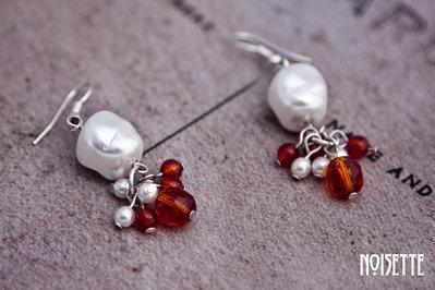 Noisete Pendientes de perlas blancas
