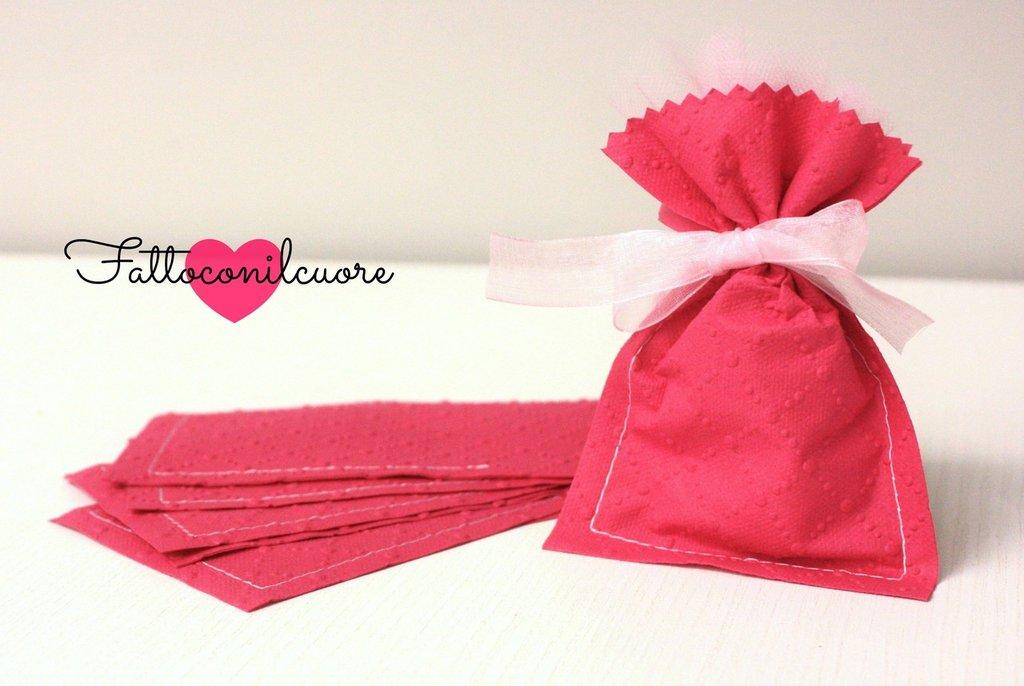 sacchetti bomboniere portaconfetti rosa fucsia