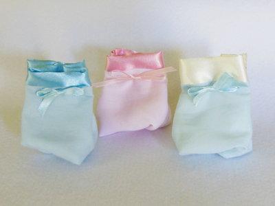 Set di 10 sacchetti per confetti in cotone e satin: le bomboniere per il battesimo, la comunione, la cresima elegante e semplice