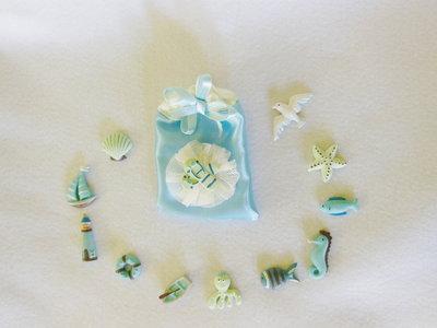 Sacchetti per confetti fatti a mano, per bomboniere a tema 'marino' personalizzabili, originali, uniche