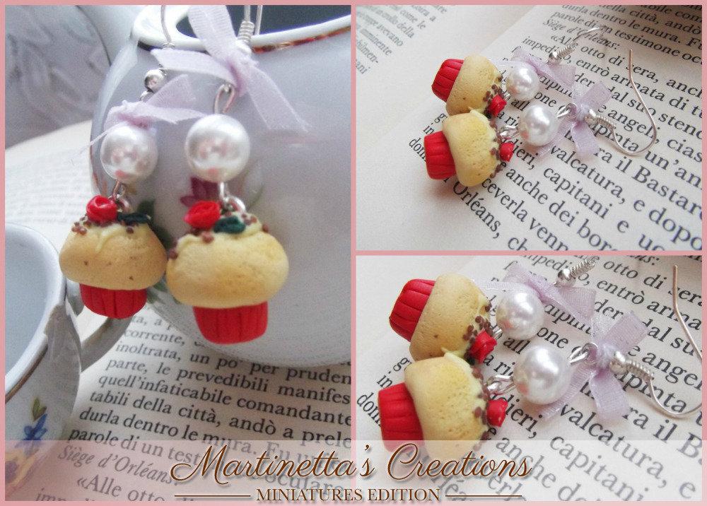 Orecchini cupcake rossi con rosa in fimo fatti a mano