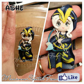 Ciondolo Ashe League of Legends handmade Chibi
